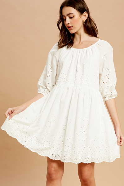 EMBROIDERY COTTON EYELET WIDE NECK DRESS