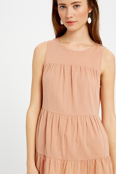 LINEN TEXTURED COTTON TIERED SLEEVELESS RUFFLE TOP