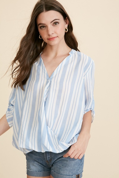 STRIPED HI LO BUTTON DOWN GATHERED TOP