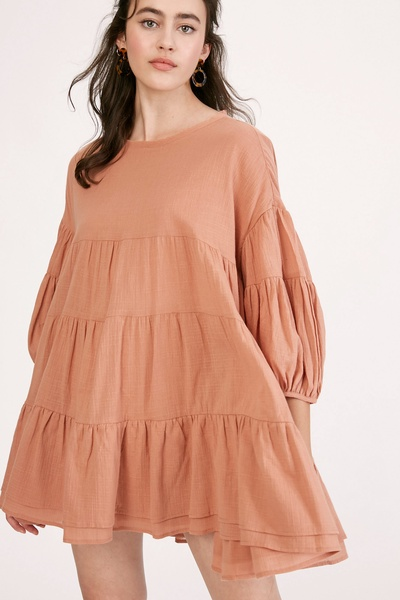 TEXTURED COTTON TIERED BABYDOLL TUNIC DRESS TOP