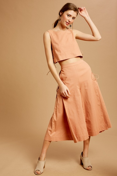 STRETCHED LINEN CROP TOP AND CULOTTES SETS