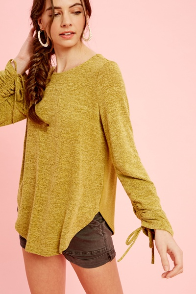 TEXTURED KNIT TOP WITH RUCHED CUFFS AND RIB