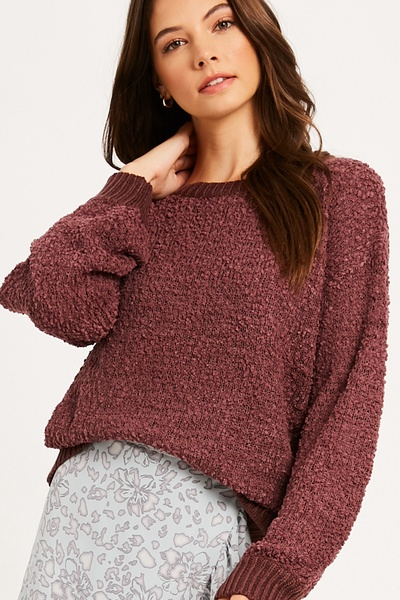 POPCORN TEXTURED PUFF SLEEVE PULLOVER KNIT SWEATER