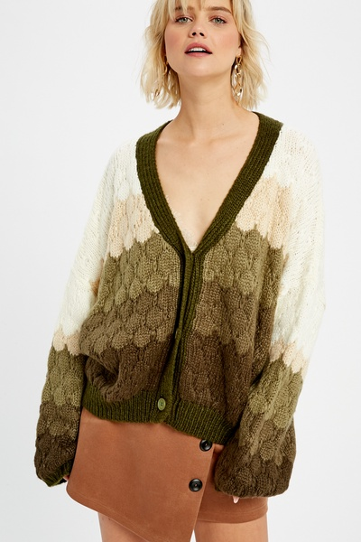 GRADATION TEXTURED BUTTON DOWN CARDIGAN SWEATER