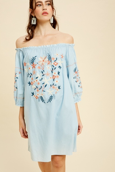 CHAMBRAY EMBROIDERED OFF SHOULDER DRESS