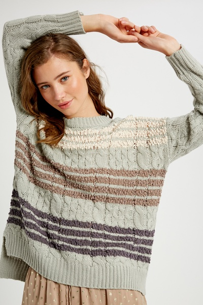 CABLE PULLOVER KNIT SWEATER WITH POPCORN STRIPE