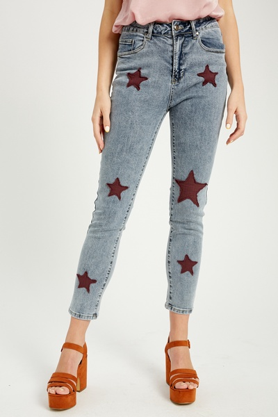 STRETCH DENIM CROP PANTS WITH STAR QUILTING