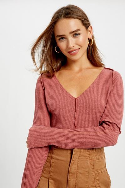 V-NECK STRETCHED RIB LONG SLEEVES KNIT TEES