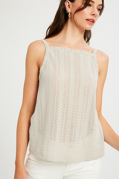 STRETCH KNITTED SQAURE NECK TANK