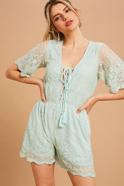 EMBROIDERY MESH ROMPER
