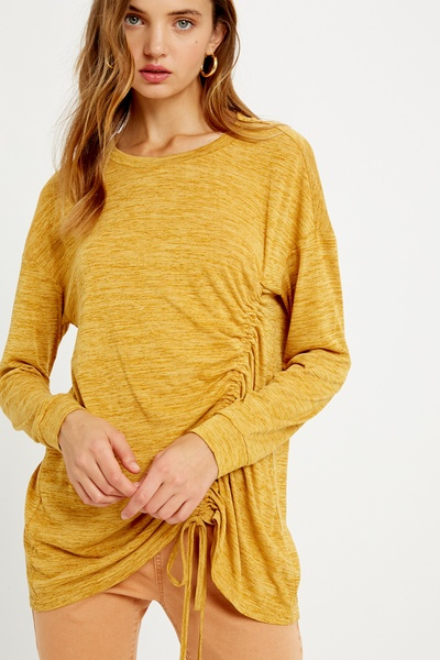 RUCHED DRAWSTING KNIT TOP