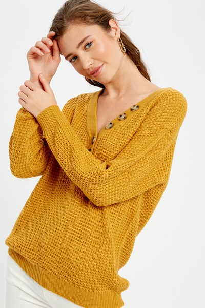 WAFFLE KNIT V-NECK BUTTON DOWN PULLOVER SWEATER