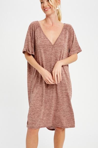 BURNOUT KNITTED V-NECK T-SHIRT DRESS