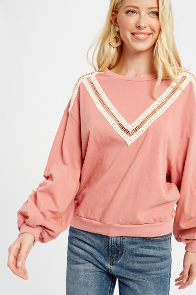FRENCH TERRY SHIRRED DOLMAN SLEEVE TOP
