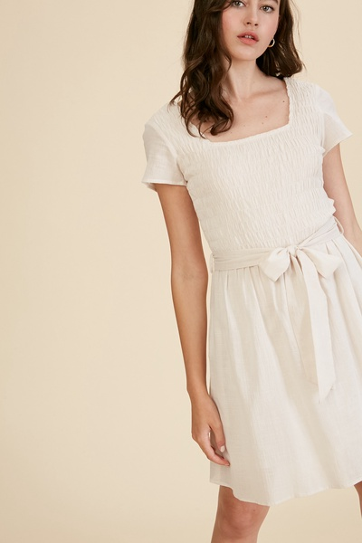 TEXTURED COTTON SQUARE NECK SMOCKING DRESS