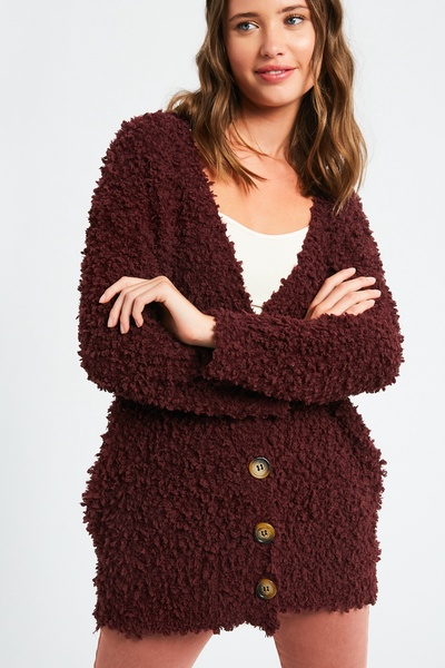 FLUFFY POPCORN TEXTURED BUTTON DOWN KNIT CARDIGAN
