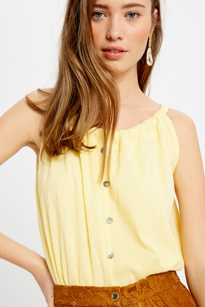 LINEN TEXTURED COTTON HALTER NECK SLEEVELESS TOP
