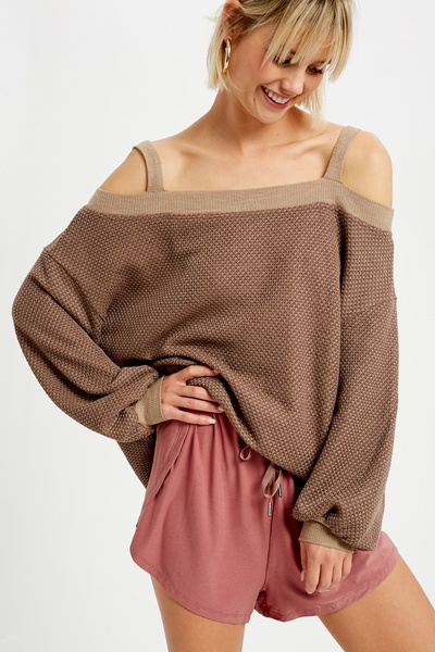 WAFFLE TEXTURED COLD SHOULDER KNITTED TOP