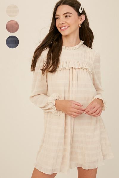 PLEATED CRINKLE RUFFLE TUNIC DRESS