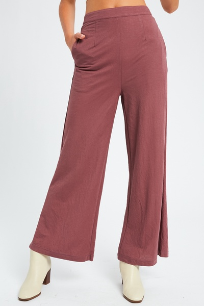 SOFT TOUCH COOL WIDE LEG TROUSERS
