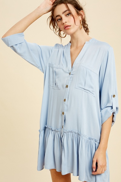 BUTTON DOWN ROLL UP SLEEVE TUNIC DRESS