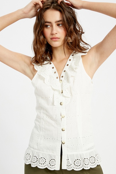 EMBROIDERY BUTTON DOWN RUFFLE NECK TOP