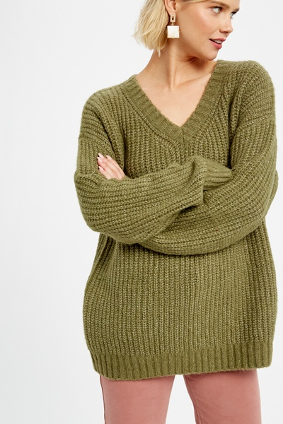 TWO TONE V-NECK PULLOVER KNIT SWEATER