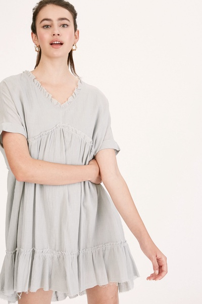 LINEN TEXTURED V-NECK BABYDOLL RUFFLE TUNIC DRESS