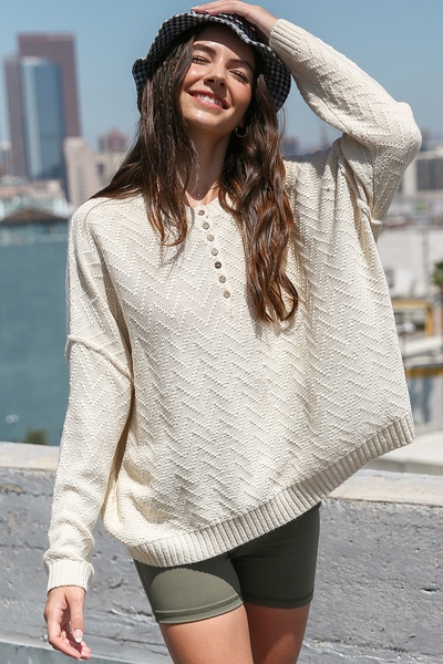 SHAPED KNITTING BUTTON DOWN PULLOVER SWEATER