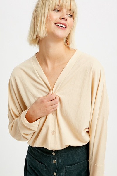 TEXTURED BUTTON DOWN DOLMAN SLEEVE TOP