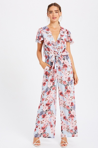 FLORAL PRINTED RUFFLE NECK JUMPSUIT