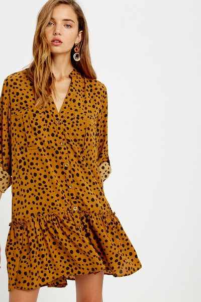 LEOPARD ANIMAL PRINTED BUTTON DOWN CARGO DRESS