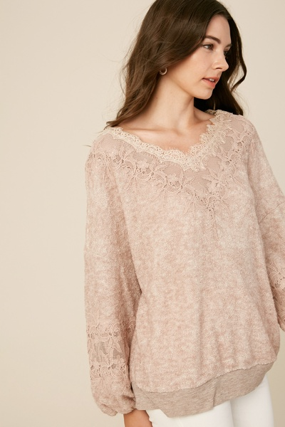 TEXTURED TERRY CLOTH V-NECK KNIT TOP WITH LACE