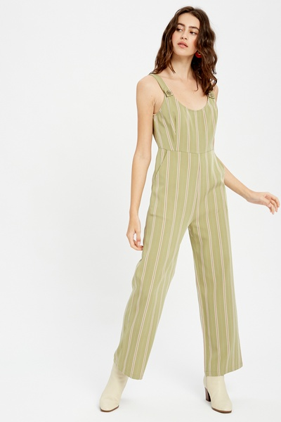 MULTI STRIPED OVERALL JUMPSUIT
