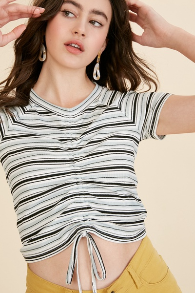 MULTI STRIPE RIBBED FRONT RUCHED KNIT CROP TOP