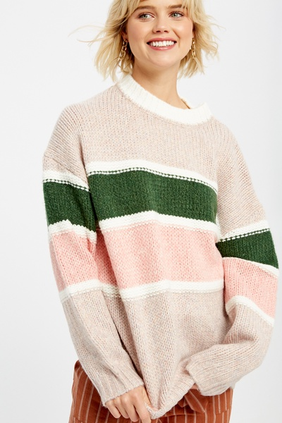TEXTURED MULTI STRIPED PULLOVER KNIT SWEATER