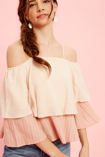 STRIPE LAYERED OFF THE SHOULDER TOP