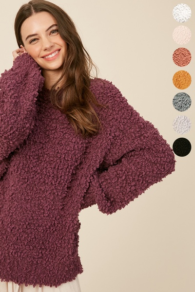 FLUFFY POPCORN TEXTURED KNIT PULLOVER SWEATER