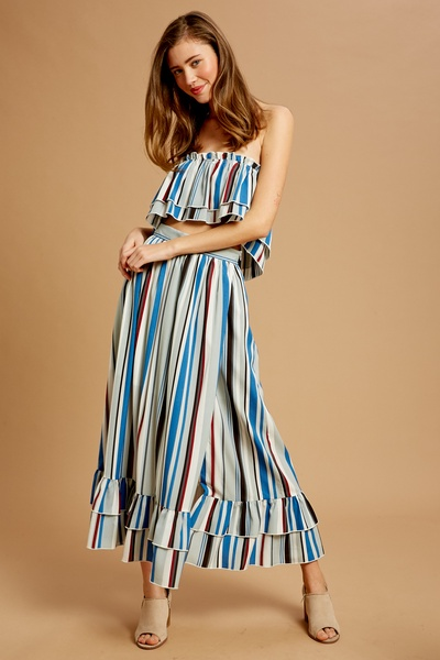 MULTI STRIPED WOVEN LAYERED TOP AND SKIRT SET