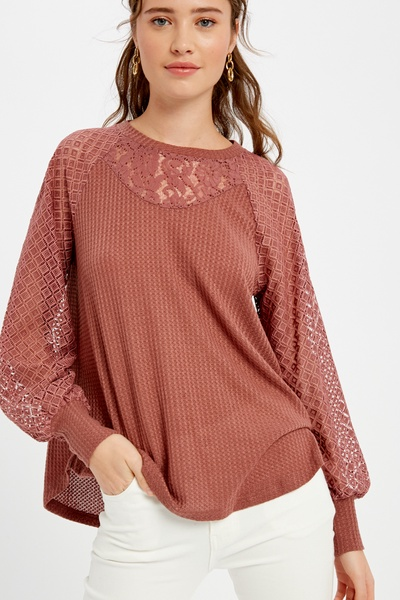 WAFFLE TEXTURED LONG SLEEVE KNIT TOP WITH LACE