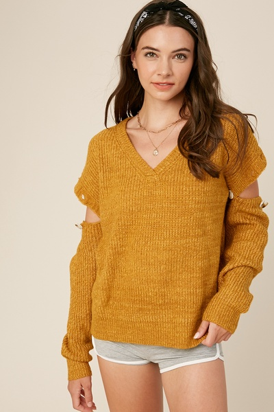 TWO TONE BUTTON ARMHOLE PULLOVER KNIT SWEATER