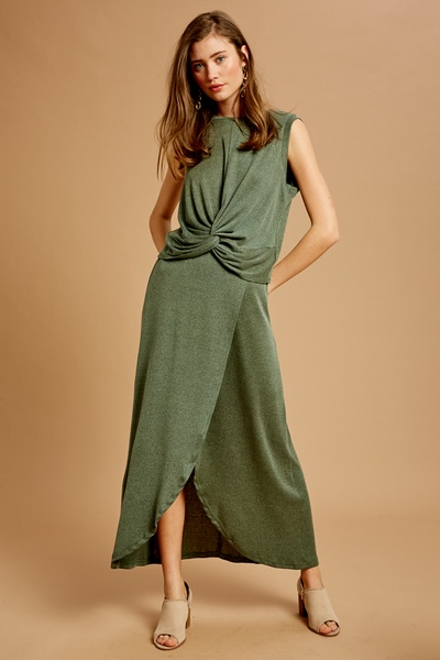 TEXTURED KNOT SLEEVELESS TOP AND SLIT SKIRT SET