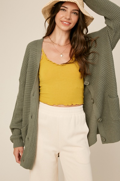 WAFFLE TEXTURED KNITTING BUTTON DOWN SWEATER