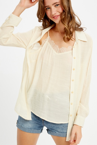 LAYER CAMI ATTACHED BUTTON DOWN TOP