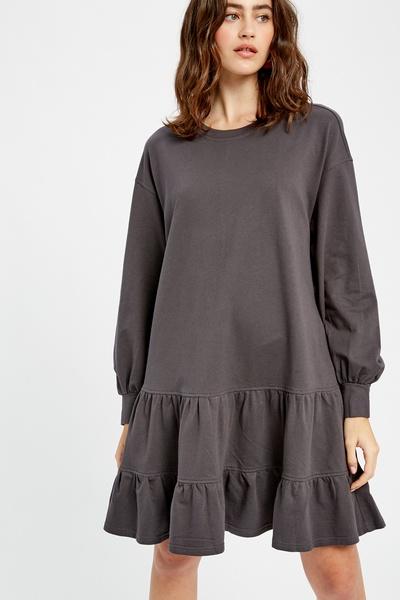 SOFT COTTON JERSEY TIERED RUFFLE SWEAT DRESS