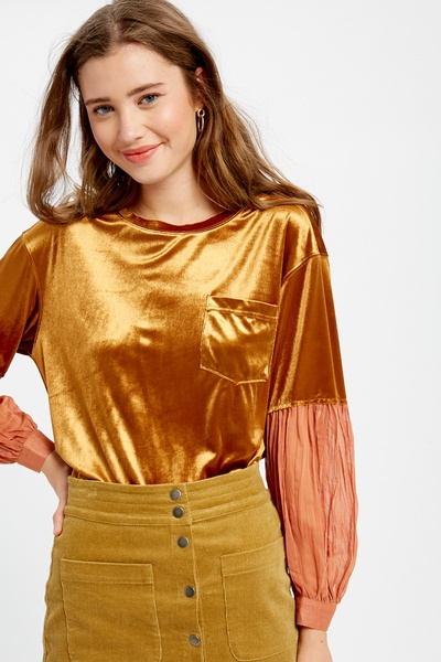 VELVET TOP WITH CRINKLE SLEEVES WITH PATCH POCKET