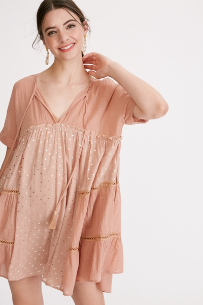 TEXTURED COTTON FRONT KEYHOLE TIERED TUNIC DRESS