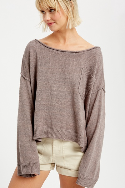 LIGHT WEIGHT WIDE NECK CROP PULLOVER KNIT SWEATER