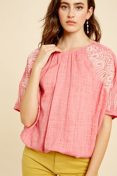 LINEN TEXTURED DOLMAN SLEEVES TOP WITH EMBROIDERY