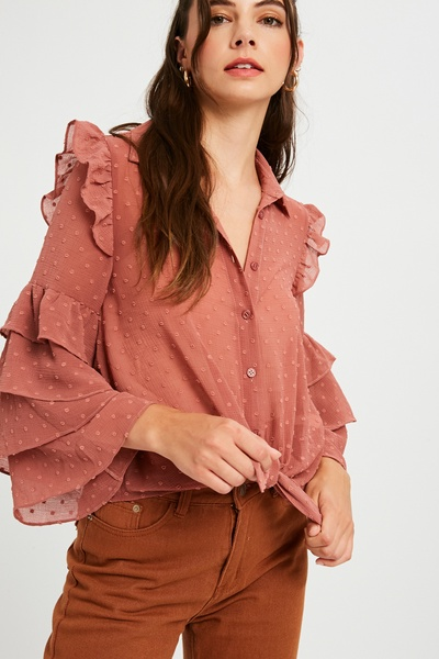 TEXTURED CHIFFON TIERED SLEEVE BUTTON DOWN TOP